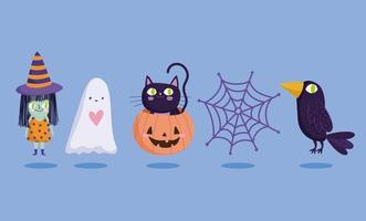 jeu de caractères halloween heureux vecteur