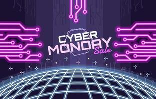 vente cyber lundi sur fond de néon