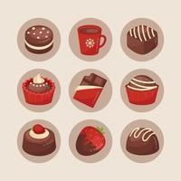 Divers types de desserts au chocolat sur une surface blanche brunâtre vecteur