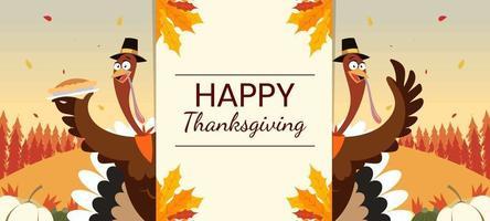 joyeux thanksgiving avec dinde et tarte vecteur