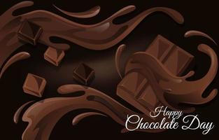 éclaboussure de chocolat pour célébrer la journée du chocolat vecteur