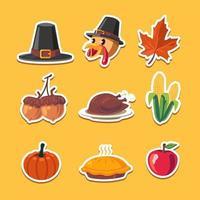 pack d'autocollants de fête de Thanksgiving amusant vecteur