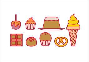 Bonbons desserts et gâteaux vecteur