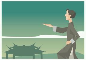 Wushu Maître pratique en face d'un vecteur porte