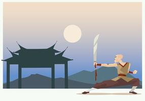 Shaolin Monk Performing Wushu With Sword Vector