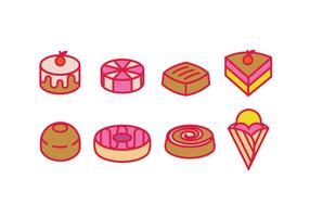 Pâtisserie, confiserie, desserts et gâteaux vecteur