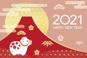 Bonne année 2021 du design du boeuf vecteur