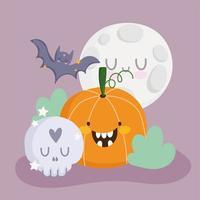 joyeux halloween, citrouille, crâne, chauve-souris et lune