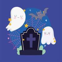 joyeux halloween, pierre tombale, fantômes et chauve-souris