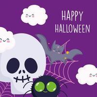 joyeux halloween, crâne, araignée, chauve-souris, nuages et toile d'araignée