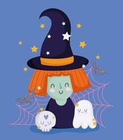 joyeux halloween, sorcière avec chapeau, fantôme et crâne