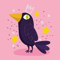 corbeau oiseau animal étoiles dessin dessin animé vecteur