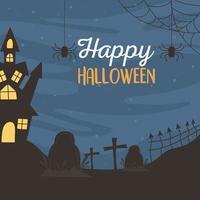 joyeux halloween, château, cimetière, croix et araignées