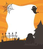 joyeux halloween, fantôme, pierre tombale et modèle de clôture
