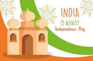 joyeux jour de l'indépendance de l'inde, drapeau du taj mahal et feux d'artifice vecteur