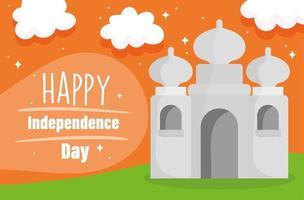 bonne fête de l'indépendance inde taj mahal carte indienne traditionnelle vecteur
