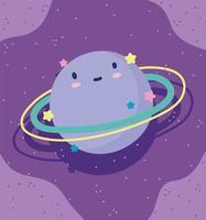conception mignonne petite planète saturne vecteur