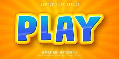 jouer un effet de texte modifiable de style dessin animé vecteur