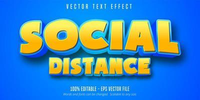 effet de texte modifiable de style artoon à distance sociale vecteur