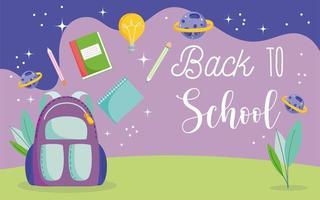 retour à l'école, sac à dos, crayons, livres et planètes