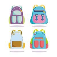 retour à l'école, sacs à dos fournitures accessoires vecteur