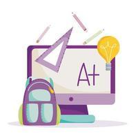retour à l'école, ordinateur, sac à dos, règle et crayons