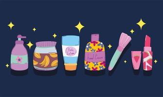 jeu d'icônes de produits de maquillage et de beauté vecteur