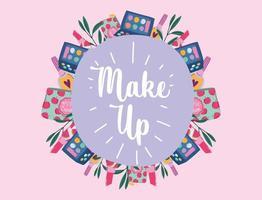 étiquette de produits de maquillage et de beauté avec lettrage vecteur