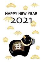 Carte de voeux du nouvel an 2021 année du boeuf
