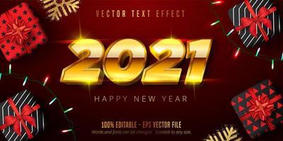 Texte, cadeaux et lumières du nouvel an en or 2021 vecteur