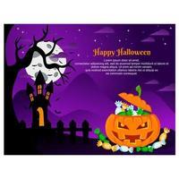 conception d'halloween avec citrouille et maison hantée vecteur