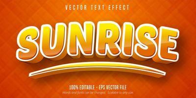 effet de texte modifiable de style cartoon dégradé lever du soleil vecteur