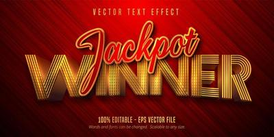 texte gagnant du jackpot effet de texte doré brillant vecteur