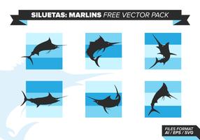 Pack de vecteur gratuit de siluetas marlins