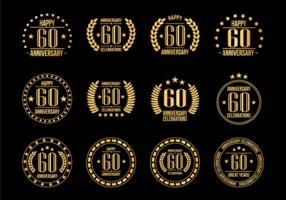 Anniversary Badges 60ème année Célébration vecteur