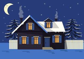 Maison de vecteur de paysage nocturne gratuite