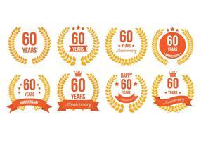 60ème badges vecteur