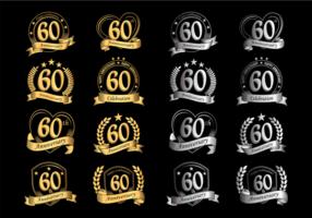 Anniversaire Badges 60ème Year Celebration vecteur