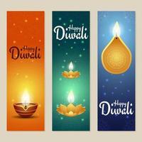 bel ensemble de bannière diwali avec diya
