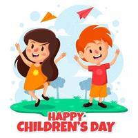 un couple d & # 39; enfants heureux le jour des enfants