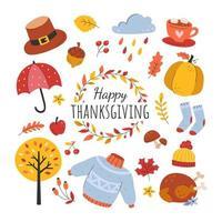 joyeux thanksgiving et jeu d'icônes d'automne vecteur
