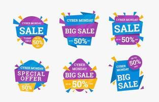 collection d'étiquettes de vente cyber lundi coloré