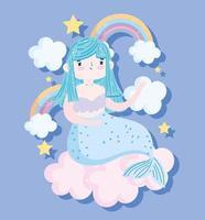 sirène bleue de dessin animé mignon avec des arcs-en-ciel vecteur
