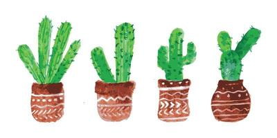 ensemble de cactus aquarelle