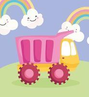 camion en plastique dans l'herbe avec des arcs-en-ciel vecteur