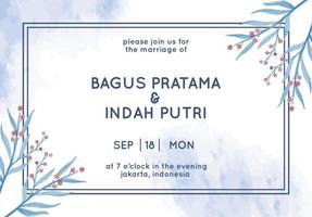carte d'invitation de mariage avec aquarelle