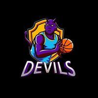 emblème esport violet diable vecteur