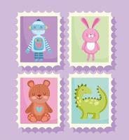 jouets pour petits enfants dessin animé dans des timbres postaux vecteur