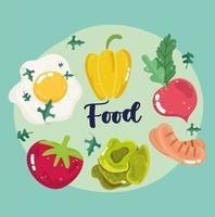 œuf au plat, poivron, radis, tomate, saucisse et laitue
