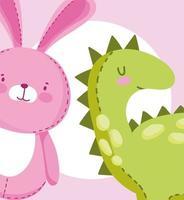 dessin animé petit lapin rose et dinosaure vecteur